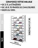 nalian® Schuhregal modular von 2bis 14Regale (10bis 70Paar)–Breite: 100cm–grau oder schwarz/Regal–ENTREE–Eingang–Aufbewahrung–Organizer–Schrank–Range Schuhe, grau, 13 étagères