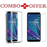 Sanguine Tempered Glass & Back Cover Best Quality [Combo Bumper Transparent] Perfact Fit Back Case Cover For Asus ZenFone Max Pro M1