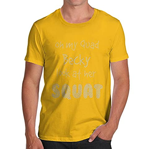 Twisted Envy Oh My Quad Becky Look At Her Squat Rhinestone Diamante Men's Yellow T-Shirt X-Large
