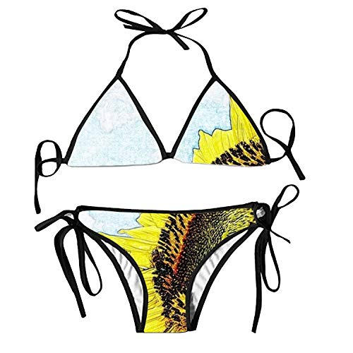 Women's Bathing Swimsuits Adjustable Strap Solar System Bikini Set Two Pieces Swimwear (Volleyball-pole-systeme)