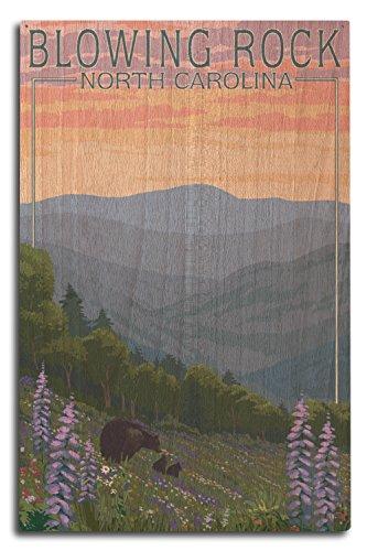 Blowing Rock, North Carolina-Spring Flowers und Bear Family, holz, mehrfarbig, 10 x 15 Wood Sign