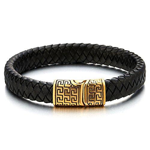Herren Damen Schwarz Geflochtene Leder Armreif Armband mit Edelstahl Griechischen Schlüsselmuster Magnetverschluss
