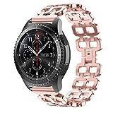 IGEMY Doppel Loch Edelstahl Ketten Art Armband Intelligentes Uhrenarmband Bügel für Samsung Gear S3 (Rosa)