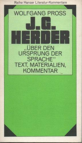 Abhandlung über den Ursprung der Sprache. ( Literatur- Kommentar, 12). Text, Materialien, Kommentar.