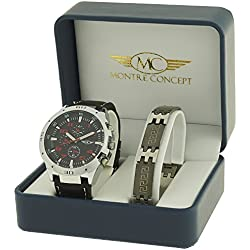 Gift Box - Black Synthetic Strap Watch with Round Dial Stainless Steel Bracelet with Black Background - ref: cbh2-a765-rouge