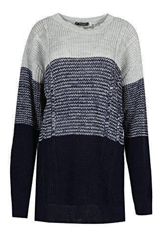 Damen Block Einsatz Grob Gestrickt Rundhals Langärmlig Contrast Warm Top Pullover Sweatshirt Plus Größen Eu 36-50 Pale Silber/Marineblauer Mix/Marineblau