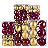 120-teiliges Set Weihnachtskugeln/Christbaumkugeln aus Kunststoff glänzend und Matt Gold/Bordeaux