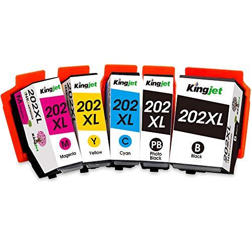 Kingjet 202XL Druckerpatronen Kompatibel Ersatz für Epson 202 XL Kompatibel mit Epson Expression Premium XP-6000 XP-6005 XP-6100 XP-6105 (1 Schwarz,1 Foto Schwarz, 1 Cyan, 1 Magenta,1 Gelb)