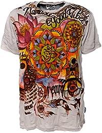 Kunst und Magie Sure Buntes 70er Retro T-Shirt mit' Namaste OM' im Crinkle Look