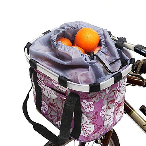 WElinks Fahrrad Korb, Vorn Mehrzweck Fahrrad Lenker Korb klappbar Abnehmbarer Fahrrad Korb Organizer Metall Alu Rahmen Abnehmbare Rad-Pet Fahrradkorb Tasche mit Kordelzug Schließung, 2#