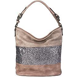 styleBREAKER elegante bolso estilo «hobo» bicolor, bolso de mano con rayas de lentejuelas, bolso para compras, bolso de hombro, bolso, señora 02012181, color:Rosa palo / Marrón topo