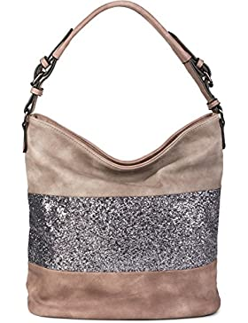 styleBREAKER edle 2-farbige Hobo Bag Handtasche mit Pailletten Streifen, Shopper, Schultertasche, Tasche, Damen...