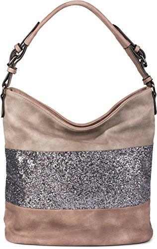 Pailletten-hobo Handtasche (styleBREAKER edle 2-farbige Hobo Bag Handtasche mit Pailletten Streifen, Shopper, Schultertasche, Tasche, Damen 02012181, Farbe:Altrose / Taupe)