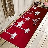Weihnachten Bodenmatte Dekor Teppich, Weihnachtsmann Anti-Rutsch-Küche Zimmer Teppich Silberne Sterne 40cmX120cm_