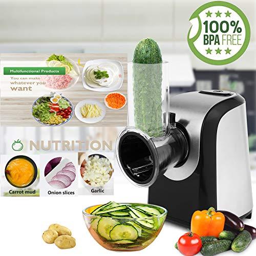 Bunao 150W Gemüseschneider, Gemüsehobel, Spiralschneider, aus Edelstahl Godmorn 5 Schneideinsätze, BPA Feri (Gemüsehobel1)