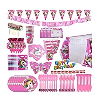 B Unicorn Party Supplies Pack, Comes Disposable Tableware Birthday Party Decoration Set, Serve 10, All-in-One Value Kit, Perfect Kids. Includes 16 Varieties 126 Pieces