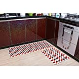 "Home and Kitchen Rugs Modern Rug Non-Slip Kitchen Mat Rubber Backing Doormat Runner Rug Set, Check Pattern Design (Red 17.7""x23.7""+17.7""x47.2"")"