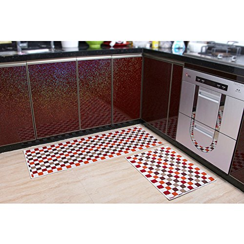 """Home and Kitchen Rugs Modern Rug Non-Slip Kitchen Mat Rubber Backing Doormat Runner Rug Set, Check Pattern Design (Red 17.7""""x23.7""""+17.7""""x47.2"""")"""