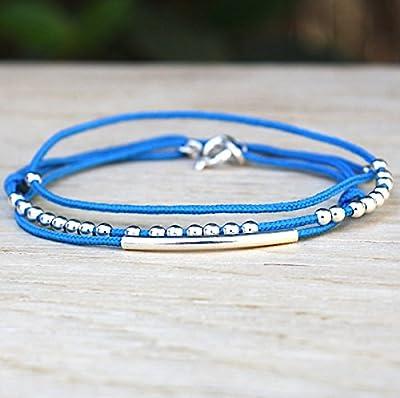 bracelet cordon 3 tours perles et jonc en argent massif