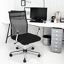 FurnitureR silla de oficina ergonómica respaldo alto de malla giratorio ajustable ordenador escritorio silla de asiento negro