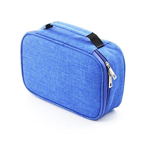 Laconile, astuccio porta penne di grande capacità, 72scomparti per matite colorate, portamatite con cerniera per matite o altri accessori Blue