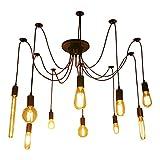 Lampe vintage suspension, araignee de couleur noir, lampe de lustre avec 8 bras, lampe flexible du silicone, tissu et mètal, culot E27, LV241 Barcelona LED