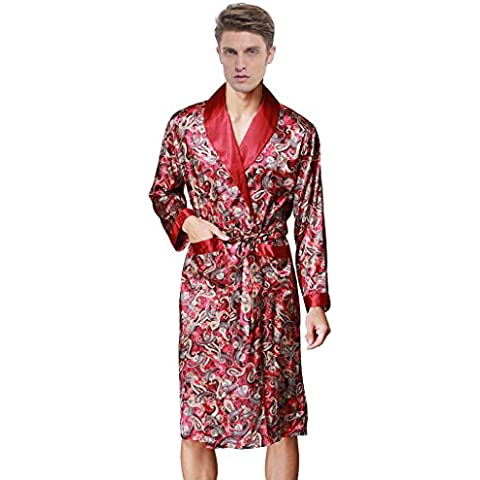 Waymoda Men's Luxury Silky Satin Evening Dressing Gown, Male Classic Elegant Paisley Pattern Kimono Wrap Robe, Various Colors, 3 Sizes Optional - Long
