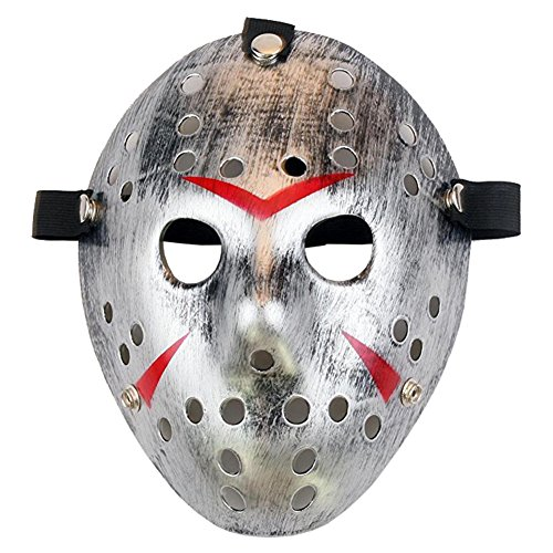 Homelix Horror Kostüm Hockey Jason Maske Halloween Party Cosplay Requisiten (Silber ()