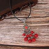 Mengcang Halskette Nachahmung blau Türkis Kurze Halskette Handgemacht, Frauen Halskette Anhänger, Charm Schmuck Geschenke für Frauen, rot