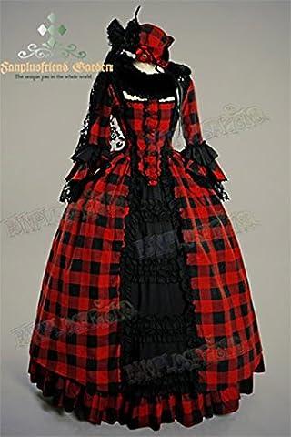 Longue robe de bal rouge et noire à carreaux victorienne Rococo, princesse - Lady 75 (38)