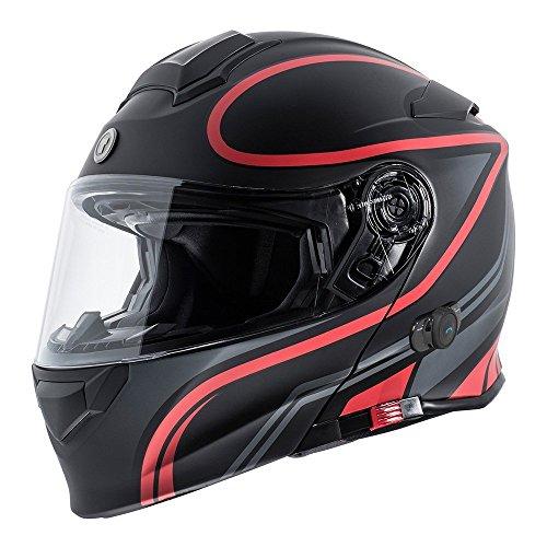 TORC T28B - Casco de motocicleta integrado, con Bluetooth, color negro