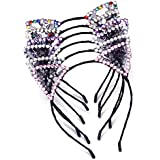 AWAYTR Super Cute 6PC Black Lace Pearl Headband Hair Hoop For Girls Women Cat Ear Lace Headbands