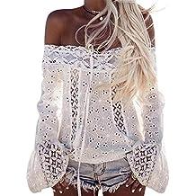 Tops Mujeres❤️Lonshell Camisetas Mangas Largas Hombros Expuestos Ropas Mujeres Señoras con Encaje Blusa Camisetas
