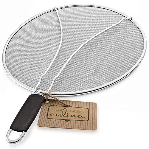 Culina 33cm Pfannen Spritzschutz, Feines Edelstahl Netzgewebe mit Fußstütze
