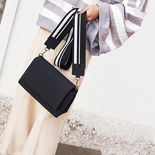 BZLine® Frauen Leder Solide Haspe Messenger Bags Crossbody Umhängetaschen Schwarz