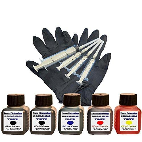 Preisvergleich Produktbild Premium Tinte Set Nachfülltinte 5 x 50 ml Tinte für Canon Patronen PG-510 PG-512 CL-511 CL-513 black und color plus 4 Nachfüllspritzen mit Nadeln und 1 paar Latexhandschuhe