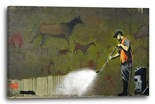 Banksy - Kärcher-Mann entfernt uralte Wandbemalung Desaster Graffiti hip cool modern, 80x60 cm, Leinwand auf Keilrahmen gespannt und fertig zum Aufhängen, Stilrichtung: Street Art