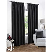 "NEGRO SEDA ARTIFICIAL 46X90"" 117X229CM OPACO FORRADAS CON PLIEGUES CURTAINS"
