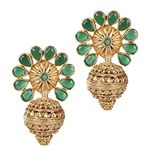 Mehtaphor Delicate South Indian Inspired Floral Stud Earrings With Semi Precious stone | Indian Wedding / Bridal Jewellery