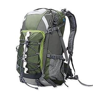 HiHiLL Mochila de Senderismo, 45L Mochila de Montañismo, Impermeable Paquete con Cubierta Lluvia, Adecuado para Montañismo/Escalada en Roca/Senderismo/ Camping/Deportes al Aire Libre