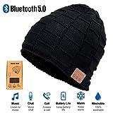 RLGPBON Bonnet Bluetooth, V5.0 Bluetooth sans Fil Chapeau Musique Haut-Parleur Chapeau Bonnet de Course, Chapeau d'hiver pour Homme Femme Cadeaux de Noël
