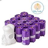 PetLove Katzen-240-count Langlebig biologisch abbaubar Duft Hundekotbeutel Umweltfreundlich, geruchsneutral Tasche mit epi-technology, Spender enthalten (15Beutel/Rolle, 16Rollen), 240 Counts, Purple-Baby Powder