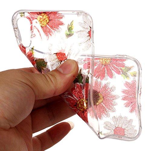 Coque iPhone X, MSK® Silicone Shell Étui Housse Protecteur Souple TPU Gel Bumper Back Case Protection Coque Pour iPhone X - Dentelle Daisy