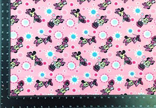 Stoff Minnie Maus Blumen Pink Winceyette 100% gebürstete Baumwolle hochwertig Meterware
