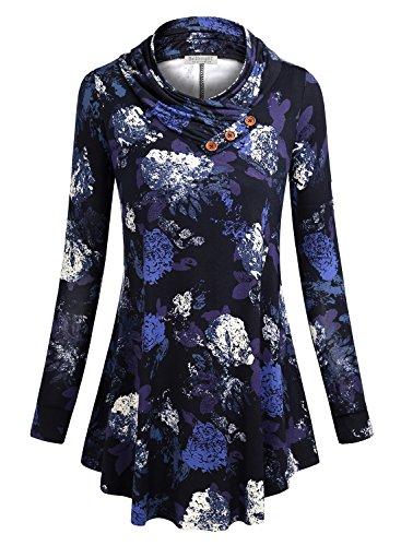 BAISHENGGT Damen Langarm Schalkragen Knopf Tunika Langarmshirt Blau-Blumen Medium