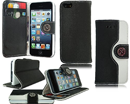 Schutzhülle Geldbörse (Neues Design Leder Flip Cover für verschiedene Handy Modelle Black FOR APPLE I PHONE 5 5S