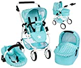 Bayer Chic 2000 Puppenwagen Emotion All In 3in1 Sternchen (Mint-Türkis-Weiß)