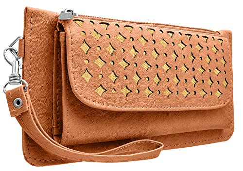 Tap Fashion Fancy Stylish Elegance Fashion Synthetic Light Brown Handmade Wallet/ Clutch/ Purse for Girls and Women.  available at amazon for Rs.298