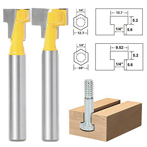 "yunso T-Slot Router Bit 1/4 ""-Set für 3/8 "" & 1/2 "" Hex,"