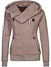 Newbestyle Femme Printemps Automne Hoodies Sweat-shirt Manches Longues à Capuche Vestes Sweatshirts Zipper Oblique